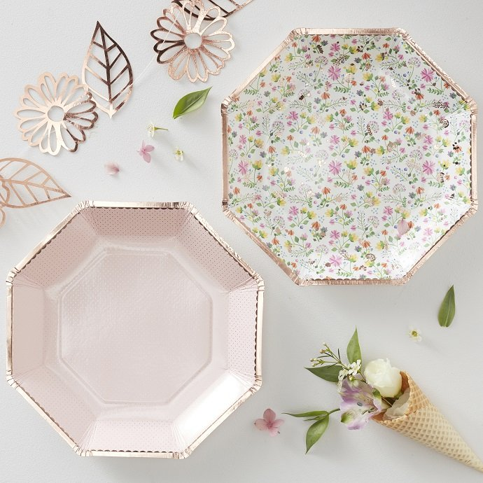 Rose Gold Floral Party Plates for English Tea Party
