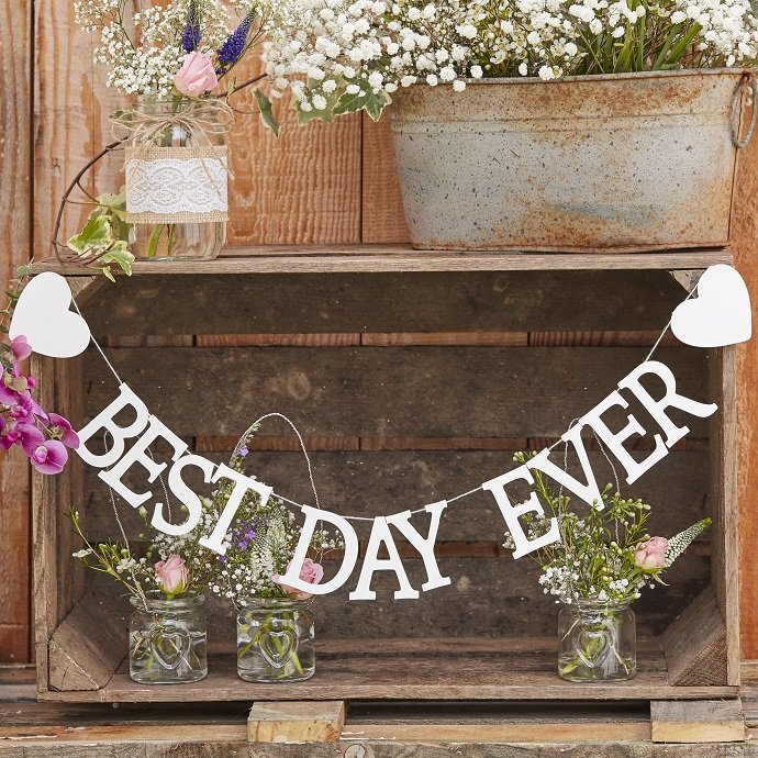White Wooden Best Day Ever Bunting