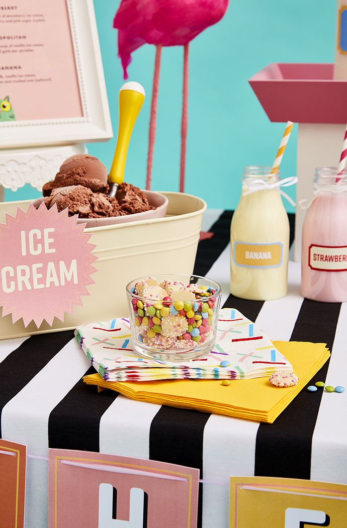 Quirky milkshake bar decorations