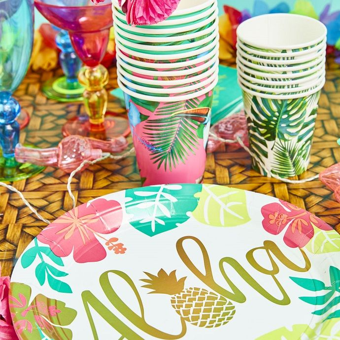 Hawaiian-themed tableware