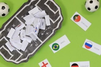 World Cup countries written on slips of paper in a football-themed bowl to choose for a sweepstakes