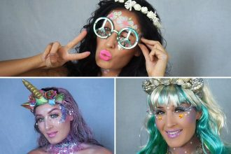 Finished makeup for a hippy, unicorn and mermaid fancy dress costume