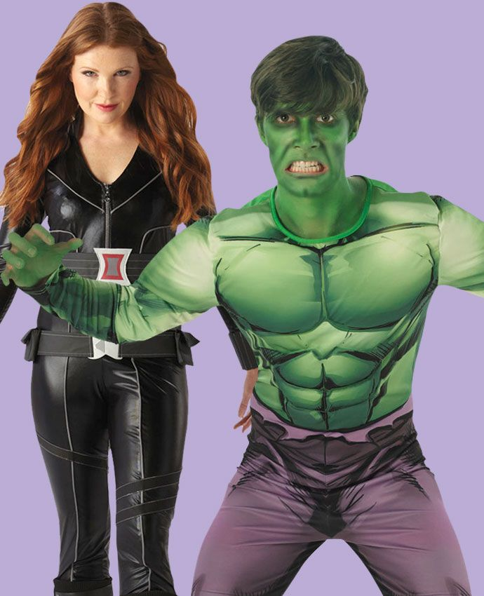 Black Widow & The Incredible Hulk Avengers fancy dress costume idea for couples