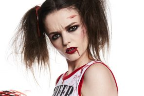 Zombie Cheerleader fancy dress costume and makeup tutorial