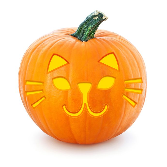 Free printable cat Halloween pumpkin stencil