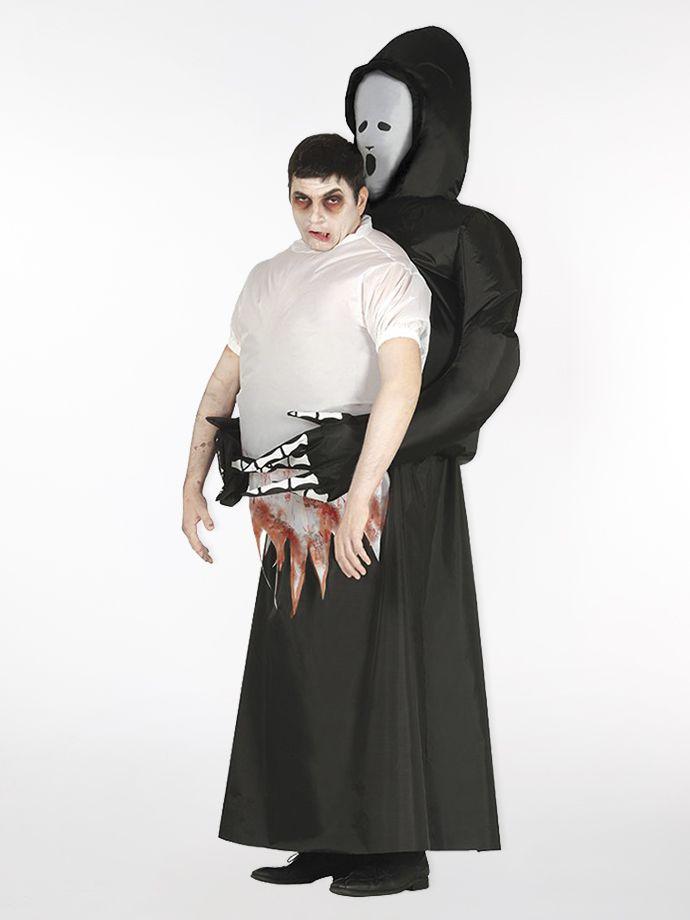 You're sure to attract attention in this inflatable Grim Reaper men's Halloween costume