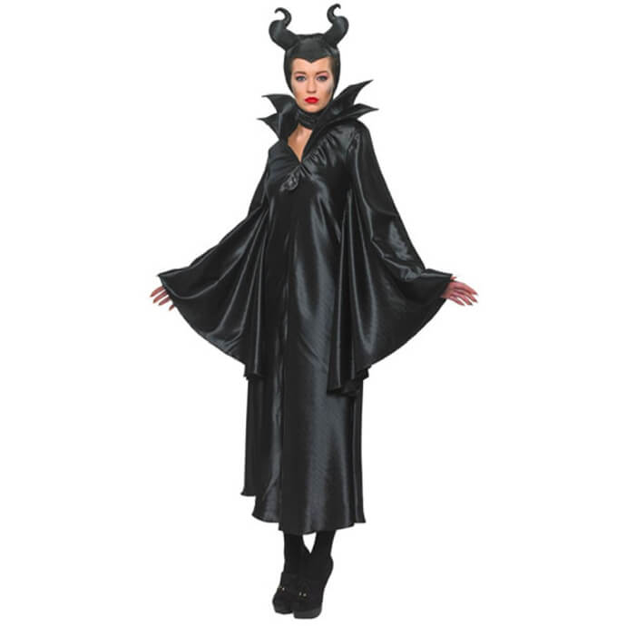 Woman in officially licensed Maleficent costume and horns