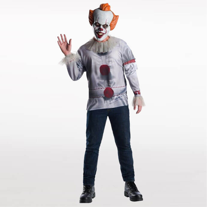 Man wearing a Pennywise costume with mask and costume waving