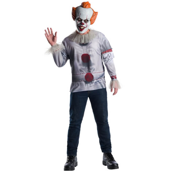 Adult man wearing a Pennywise costume with red button tshirt and mask