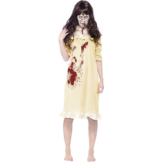 Woman in Regan costume with blood down her front