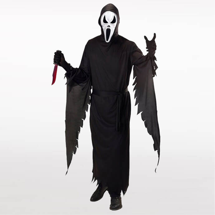 Man wearing a Scream killer costume with face mask, long draped sleeves and a bloody knife