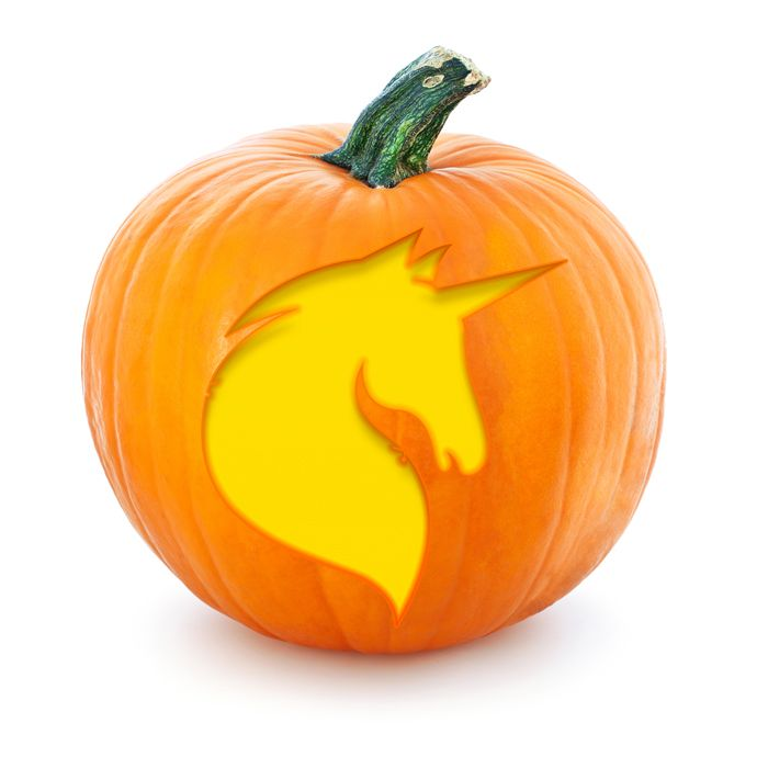 Free printable unicorn Halloween pumpkin stencil
