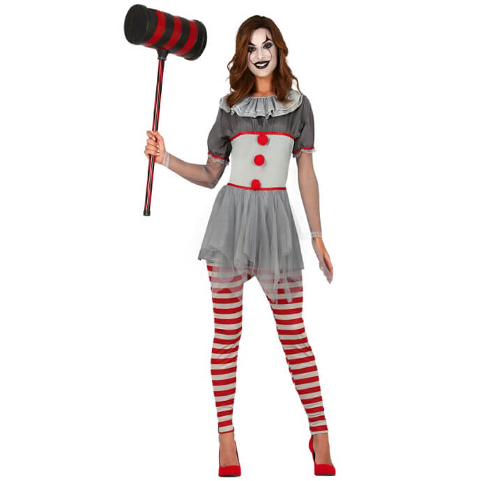 Woman in grey clown outfit with large hammer prop