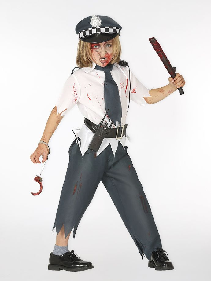 Zombie policeman Halloween outfit for boys