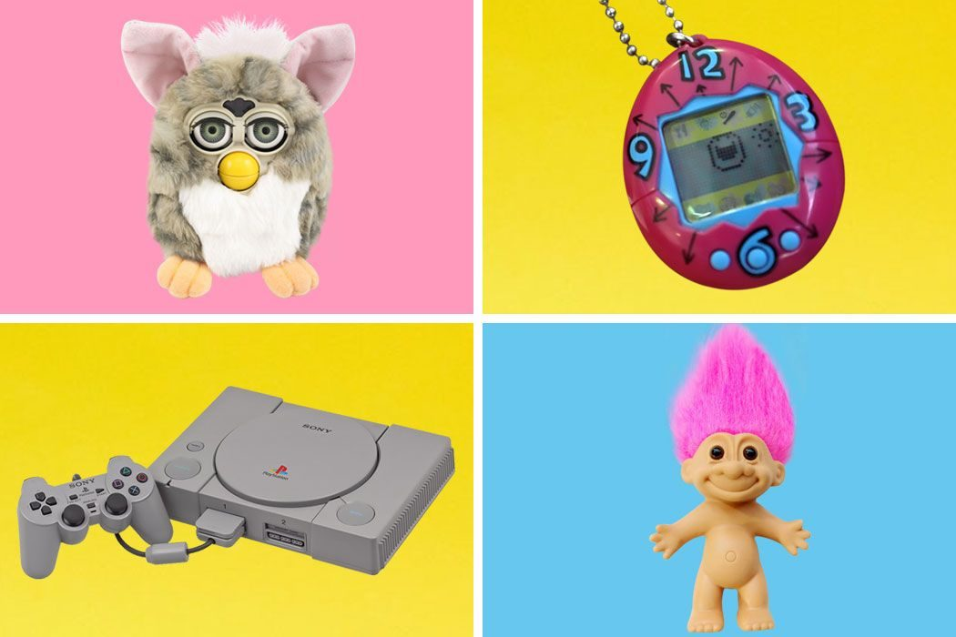 A collection of popular 90s Christmas toys, including a Furby, Tamagotchi, Playstation and Trolls