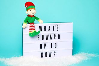 Edward, our Elf on the Shelf, getting ready for some Christmas mischief