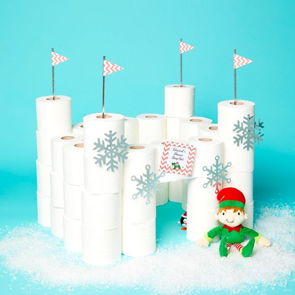 Elf on the Shelf idea - Building an igloo out of toilet paper