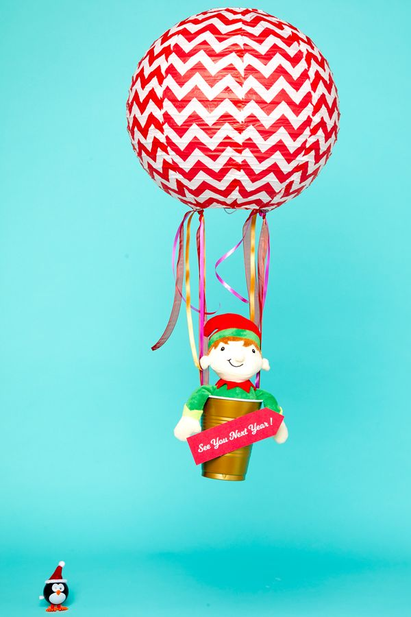Elf on the Shelf idea - Taking off in a hot air balloon