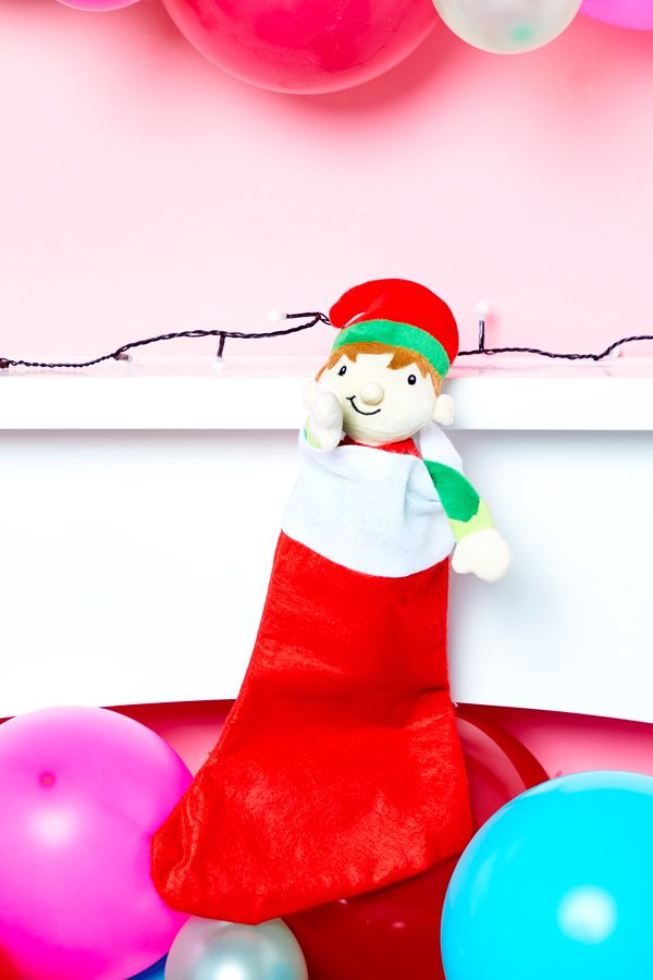 Elf on the Shelf idea - Edward peeping out of a stocking