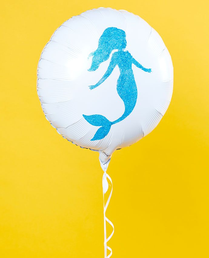 Plain white balloon with blue glitter mermaid design