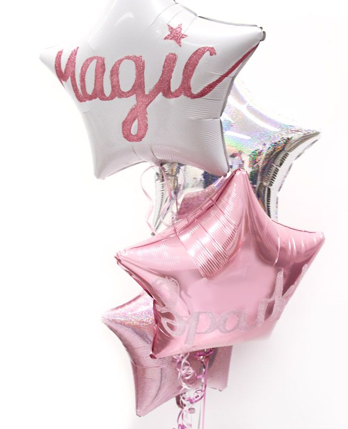 Pink star balloons decorated with glitter