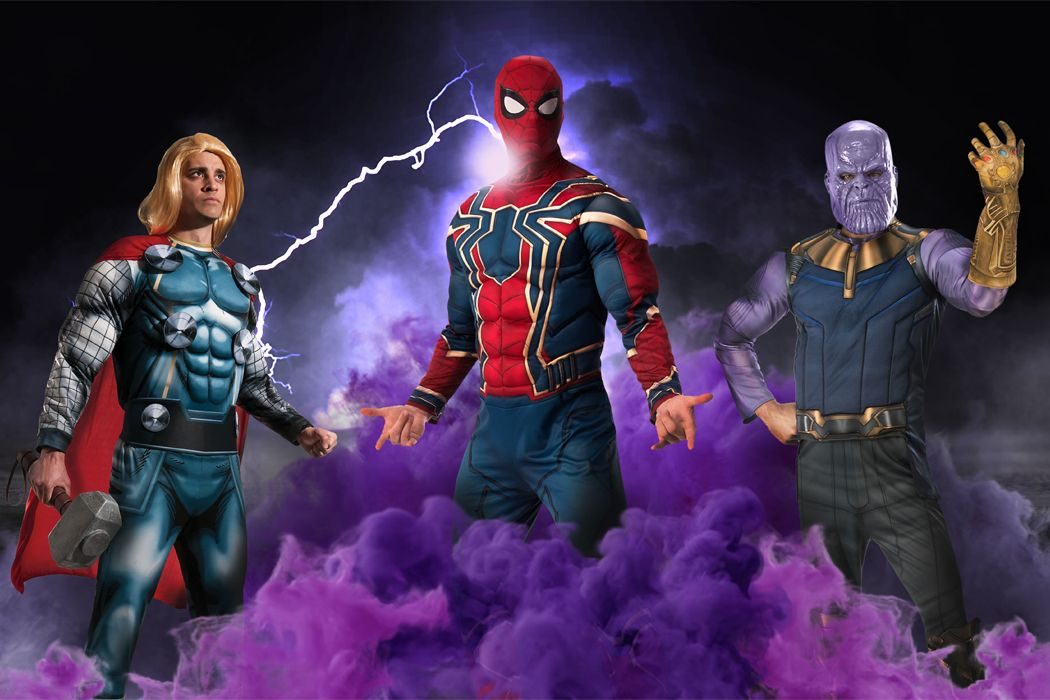 Thor, Spider-Man and Thanos superhero costumes