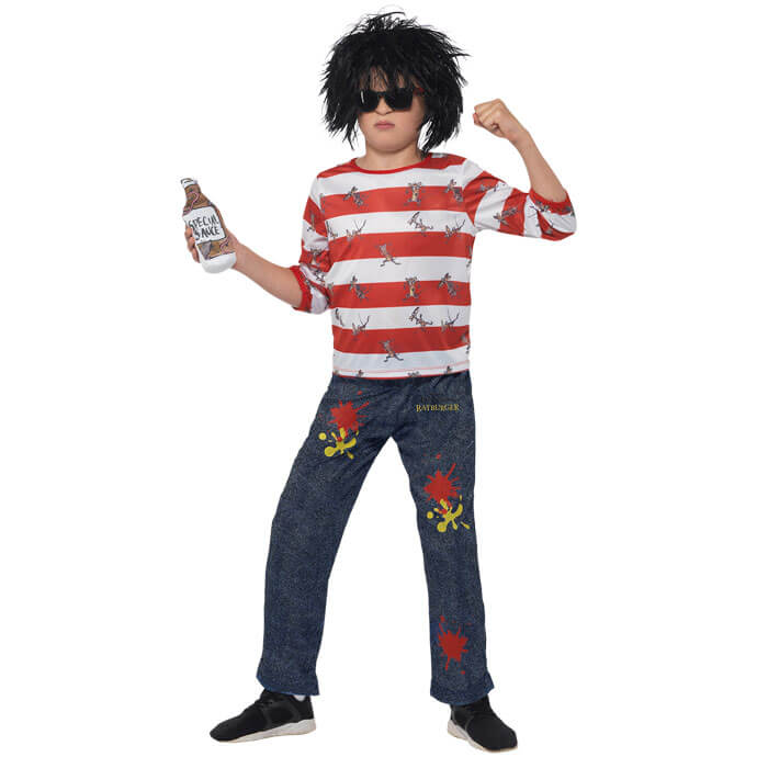 Fancy Dress Wizard Boy Wally Glasses World Book Day Round Black Red Nose Day