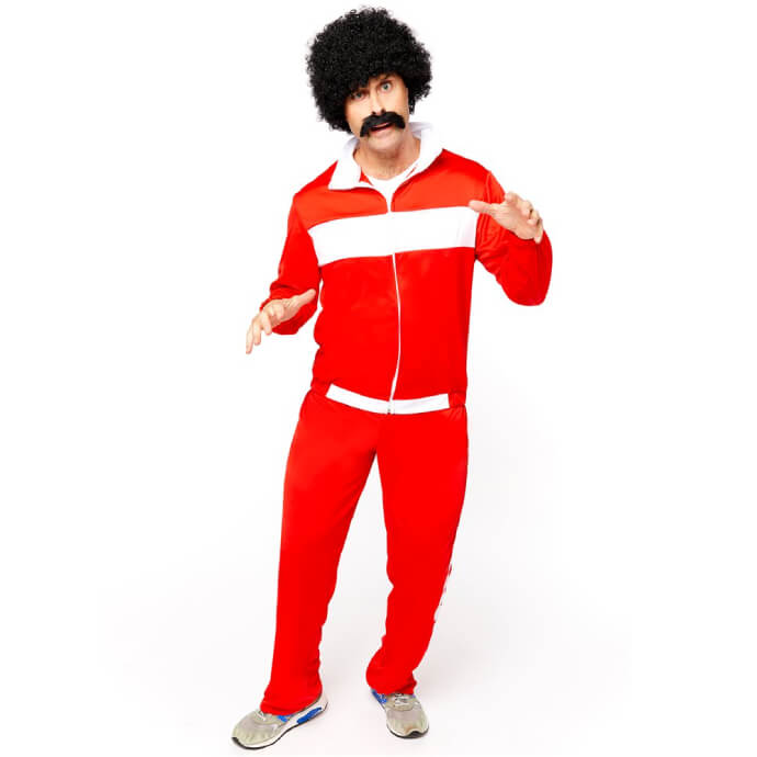 Man wearing a 1980s red tracksuit with white stripes, an afro and fake moustache