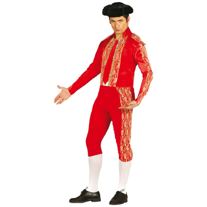 Man wearing a bullfighter/matador costume with hat, long socks and black shoes