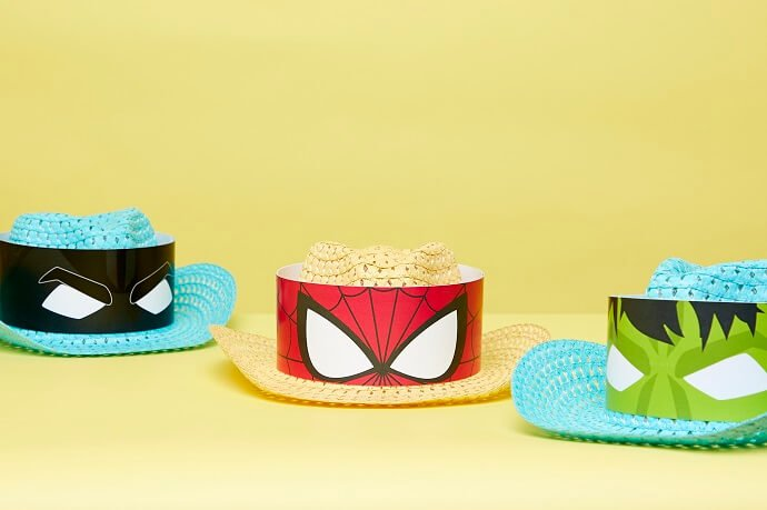 Easter bonnets decorated with a superhero theme - Batman, Spider-Man and The Incredible Hulk