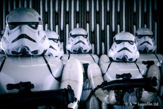 Five life-size Stormtrooper Star Wars balloons