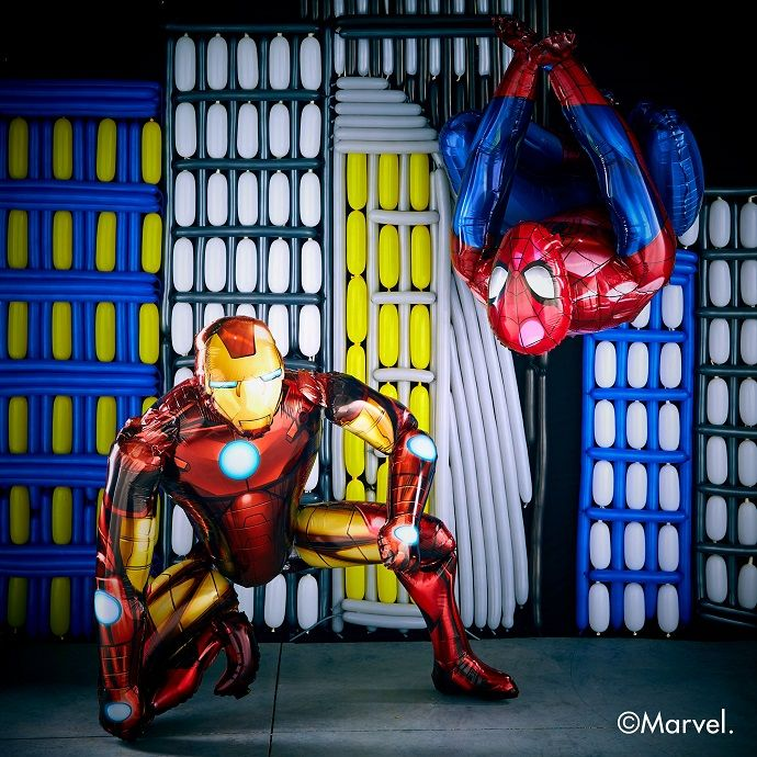Life-size Iron Man and Spider-Man balloons
