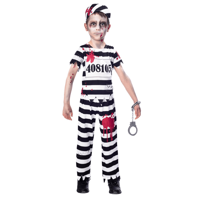 Little boy wearing a prisoner uniform covered with blood splatters