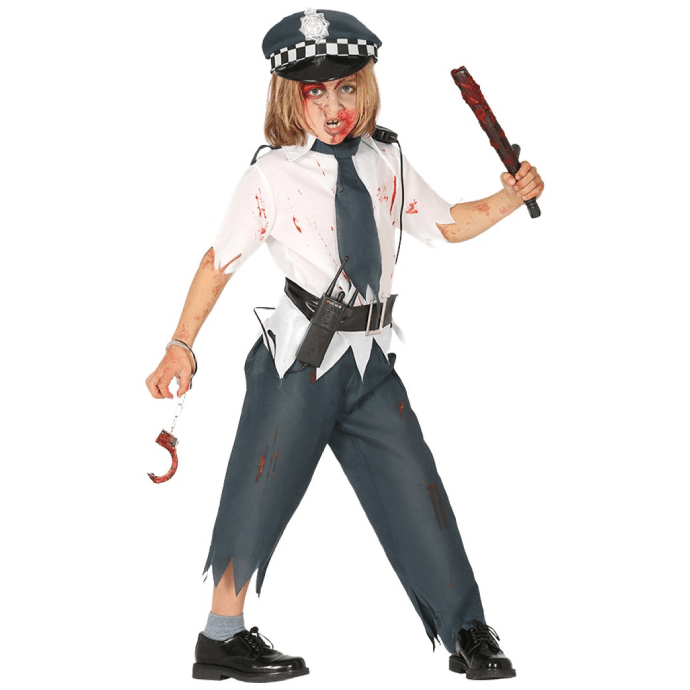 Boy wearing a tattered police officer costume with blood splatters and scratches