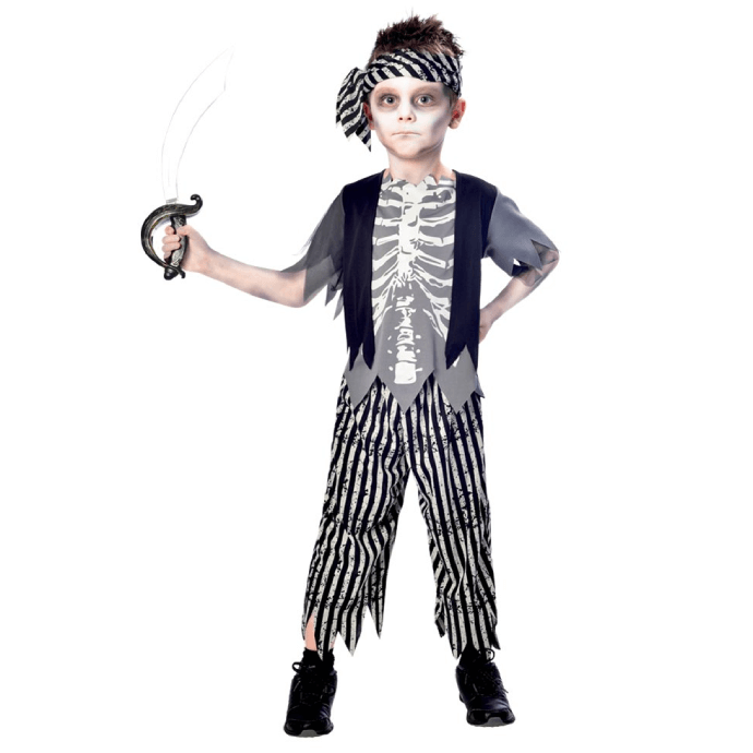Boy wearing a zombie pirate costume with bandana and cutlass