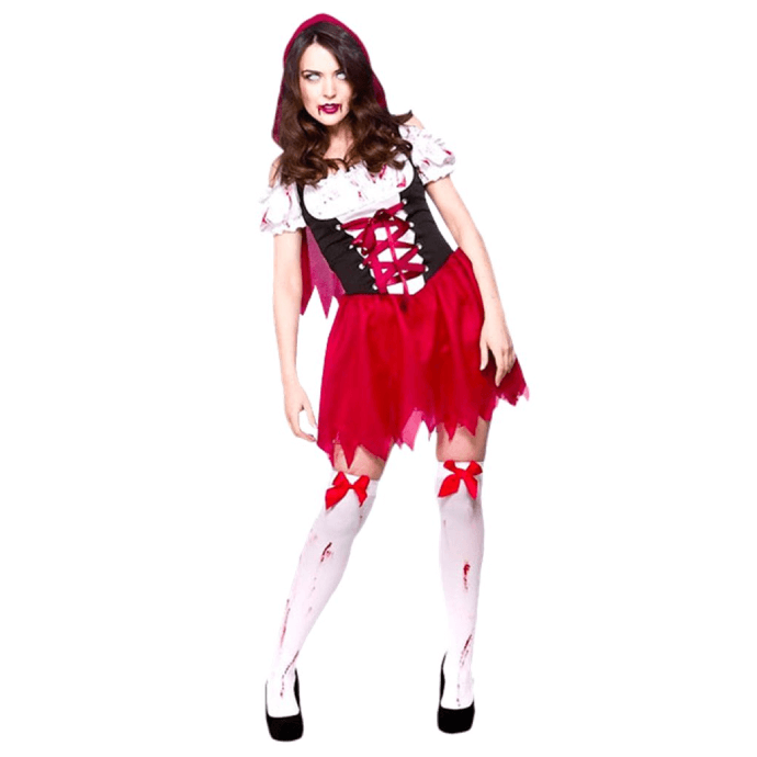 woman wearing a zombie version of little red riding hood costume