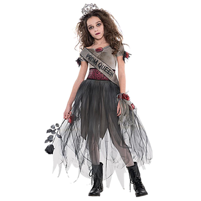 girl wearing a zombie prom queen outfit with dead roses