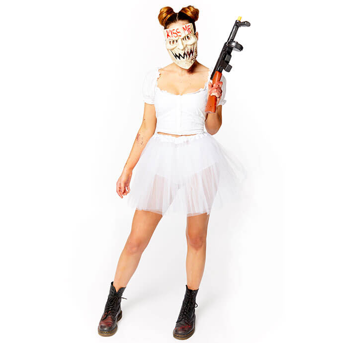 Women's The Purge costume with 'Kiss Me' mask and fake gun