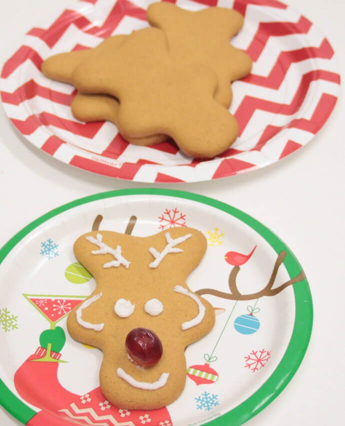 Gingerbread man decorated to look like a reindeer