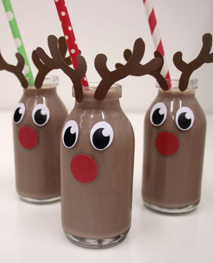 Chocolate milkshake bottles decorated to look like reindeer