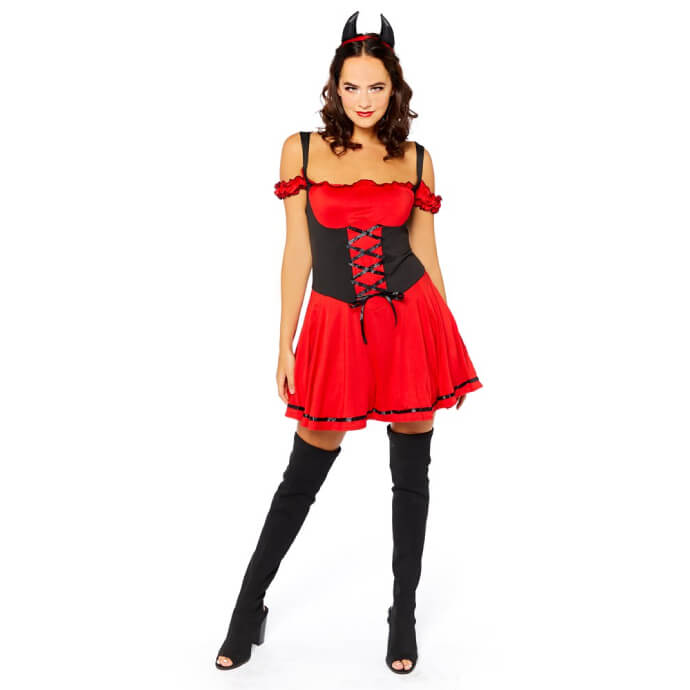 Woman with dark hair wearing sexy devil costume with a bodice, long stockings, high heels and devil horns on the head