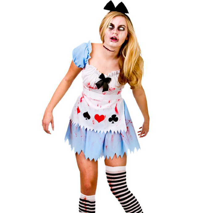blonde woman in alice in wonderland dress with stockings and hair bow