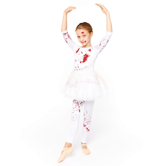 girl in zombie ballerina costume doing a plie