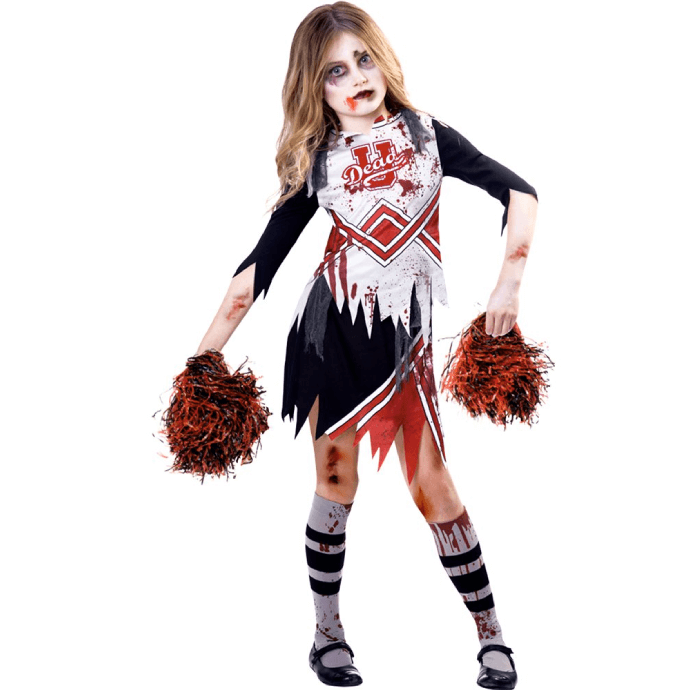 Girl wearing  zombie cheerleader costume with pom poms and blood