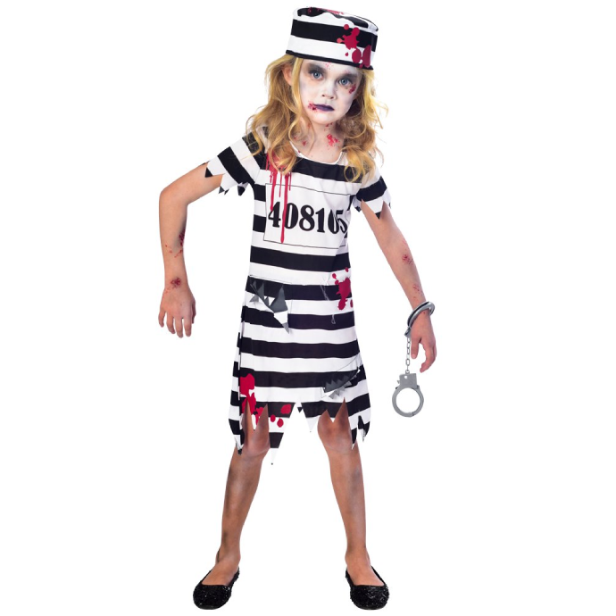 Girl wearing tattered prisoner costume with blood splatters