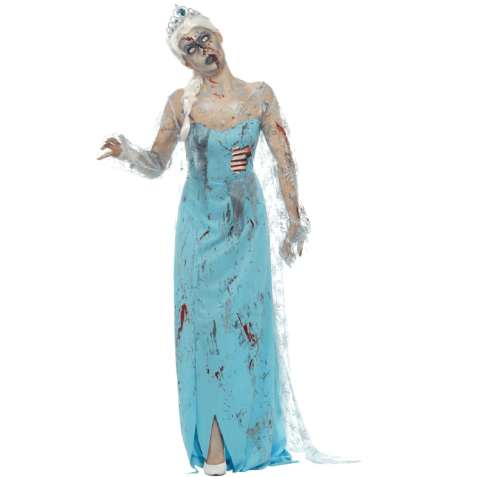 woman wearing a zombie version of Elsa's dress from Frozen