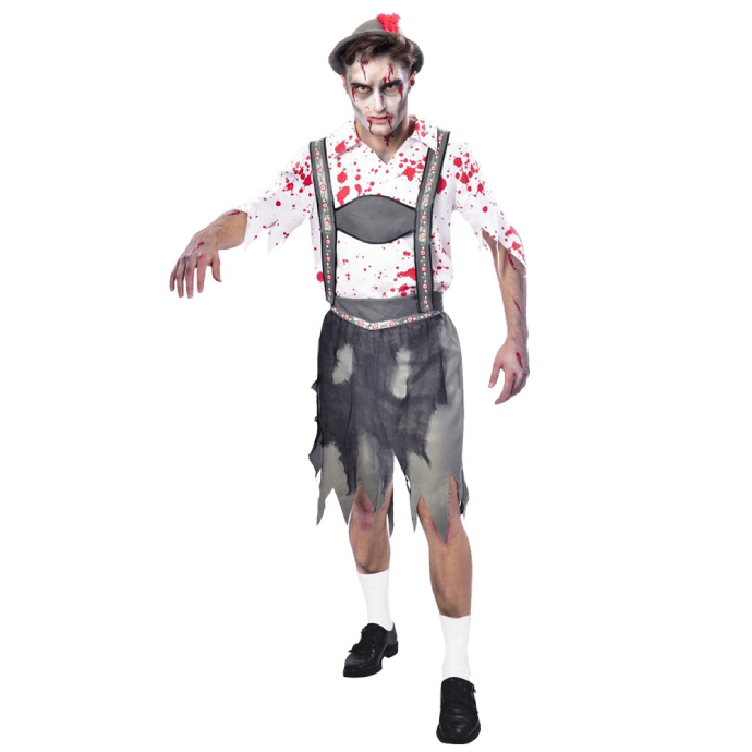 Man in bloody zombie Oktoberfest costume