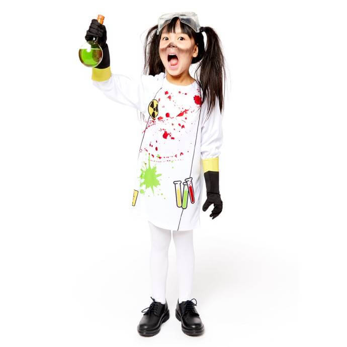 Girl wearing zombie scientist costume holding a vial of mysterious fluid