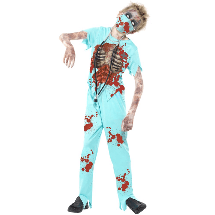 boy dressed as a zombie surgeon in bloody scrubs