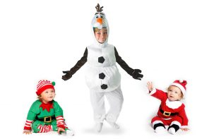 Christmas fancy dress ideas for babies and toddlers - elf, Olaf and Santa